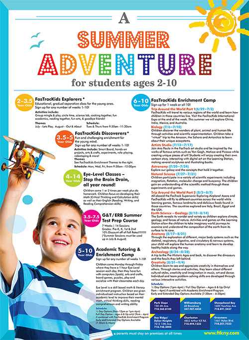 A summer adventure, NYC and Brooklyn tutoring and enrichment camp and programs.