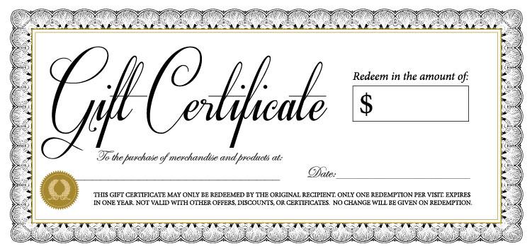 FTK NY gift certificates