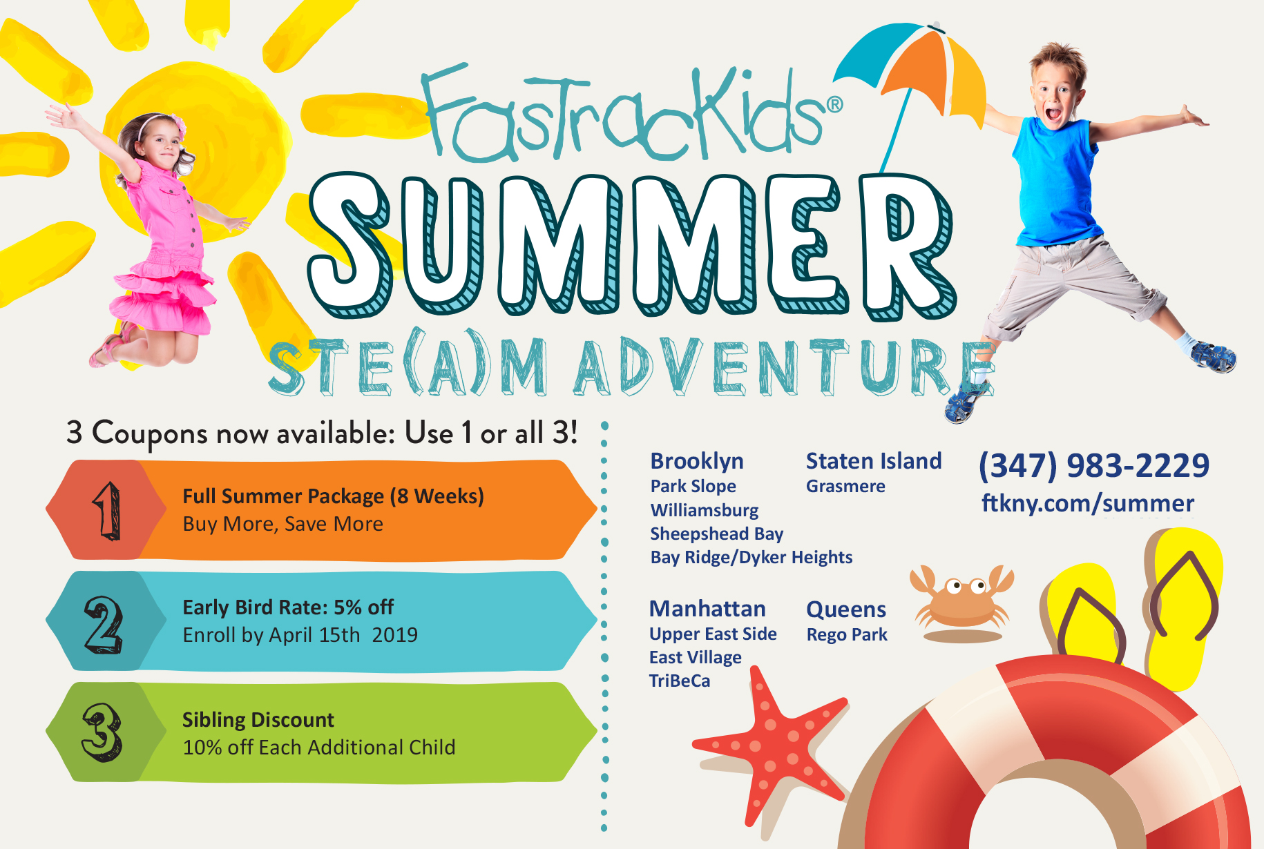 Summer Camp 2019 Post Card with coupons